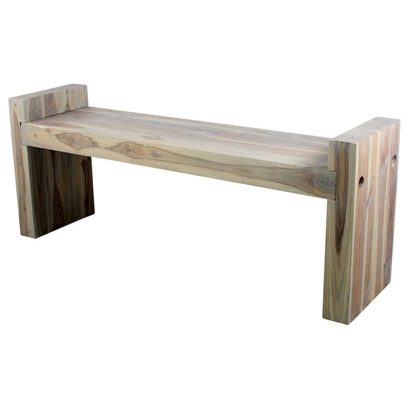 Haussmann® Teak Block Bench 48 x 12 x 19 inch High KD Grey Oil