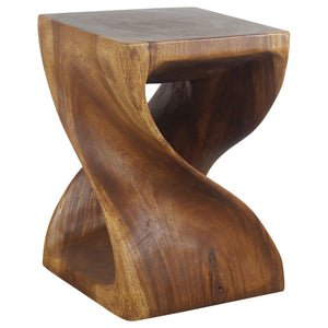 Haussmann® Wood Twist End Table 15 x 15 x 20 inch High Walnut Oil