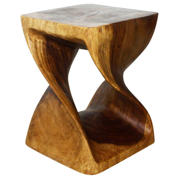 Haussmann Original Wood Twist End Table 15 X 15 X 20 In High Livos Walnut Oil