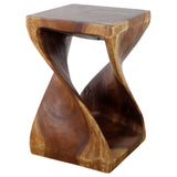 Haussmann® Wood Twist End Table 15 x 15 x 23 inch High Walnut Oil