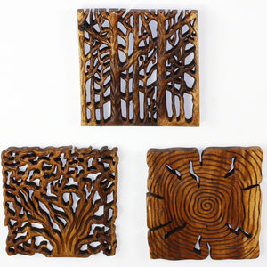 Haussmann® Wood Wall Panels Tree Life Through 12 in x 12 in S/3 Walnut