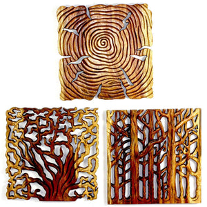 Haussmann® Tree Of Life Wall Panels 18 In Square, 3-Piece Set, Antique Oak Oil