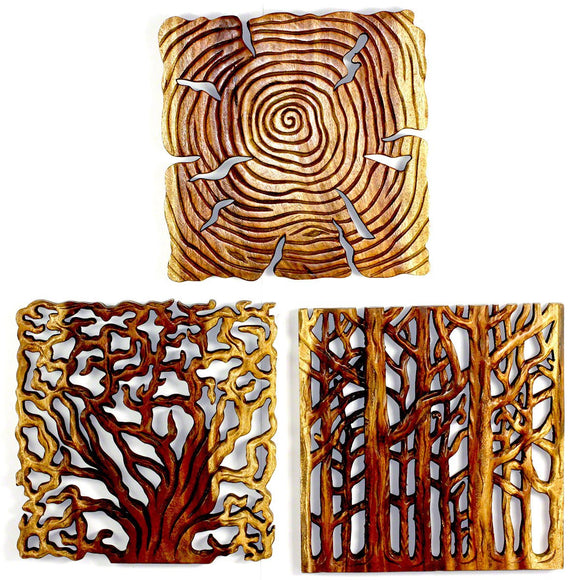 Haussmann Tree Of Life Wall Panels 18 In Square, 3-Piece Set, Antique Oak Oil