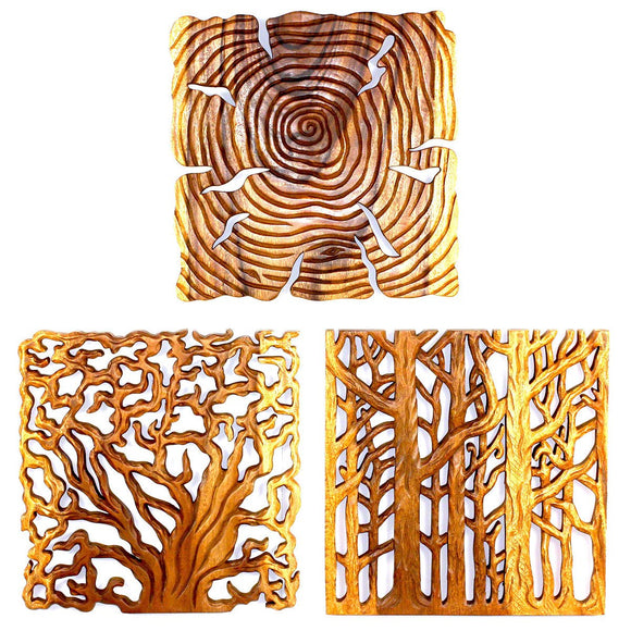 Haussmann Tree Of Life Wall Panels 18 In Square, 3-Piece Set, Livos Oak Oil