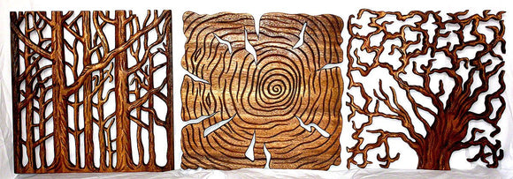 Haussmann Tree Of Life Wall Panels 18 In Square, 3-Piece Set, Livos Walnut Oil