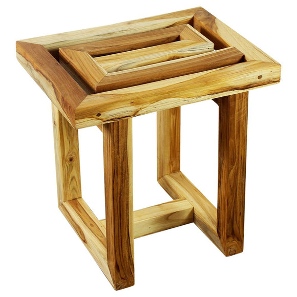 Haussmann® Teak Maze Spa Stool 15.5 W X 12 D X 16 In High Farmed Teak Teak Oil