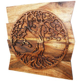Haussmann® Wood Tree of Life Round on Uneven Boards 24 x 24 in Walnut