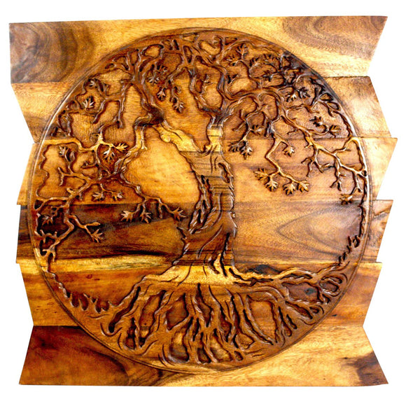Haussmann Tree Of Life On Uneven Boards 36 X 36 Inch Livos Walnut Oil Finish