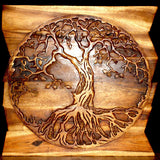 Haussmann® Wood Tree of Life Round on Uneven Boards 36 x 36 in Walnut