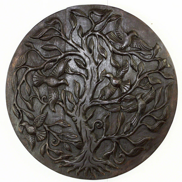 Haussmann Wood Tree of Life Bird Round, Dark Walnut Oil, 30