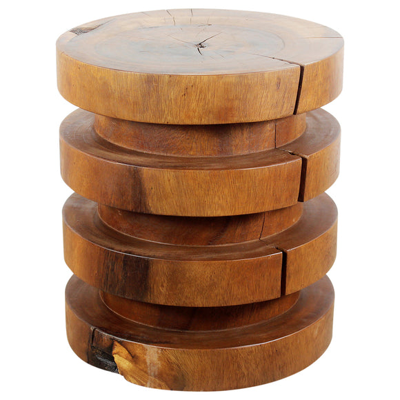 Haussmann® Towering Rings End Table 18 in DIA x 20 in High Walnut Oil