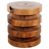 Haussmann® Wood Towering Rings Table 18 in DIA x 20 in H Walnut Oil - Haussmann Inc