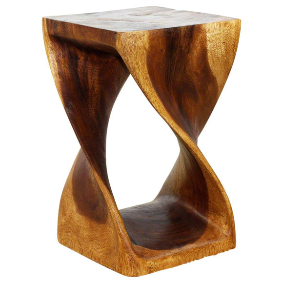 Haussmann Original Wood Twist Stool 10 X 10 X 16 In High Livos Walnut Oil