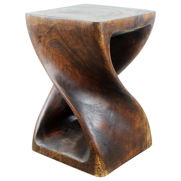 Haussmann® Original Wood Twist Stool 12 X 12 X 18 In High Mocha Oil