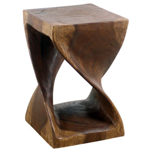 Haussmann® Original Wood Twist Stool 12 X 12 X 18 In High Walnut Oil