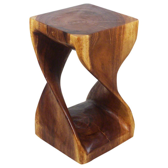 Haussmann Handmade Original Wood Twist Stool 12 in SQ x 20 in H Walnut