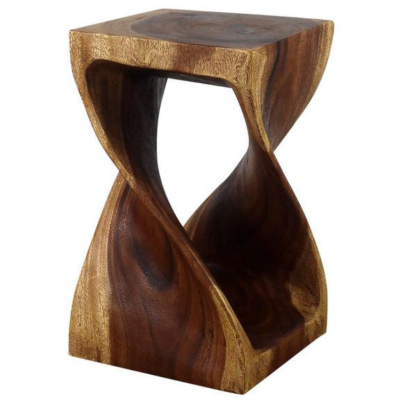 Haussmann® Original Wood Twist Stool 12 X 12 X 20 In High Walnut Oil