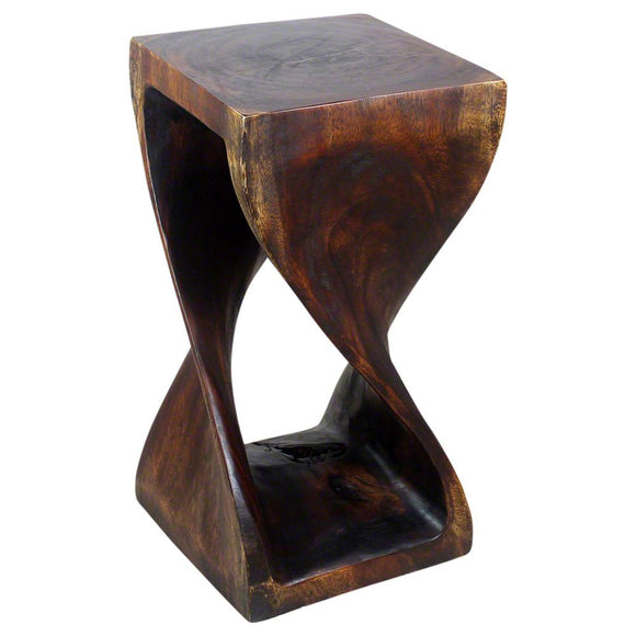 Haussmann Original Wood Twist Stool 12 X 12 X 23 In High Livos Mocha Oil
