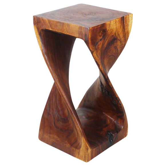 Haussmann handmade Original wood Twist Stool 12 in SQ x 23 in H Walnut