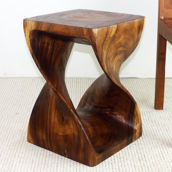 Haussmann Original Wood Twist Stool 14 X 14 X 20 In High Livos Walnut Oil