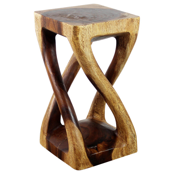 Haussmann® Wood Vine Twist Stool Accent Table 12 in x 22 in H Walnut Oil