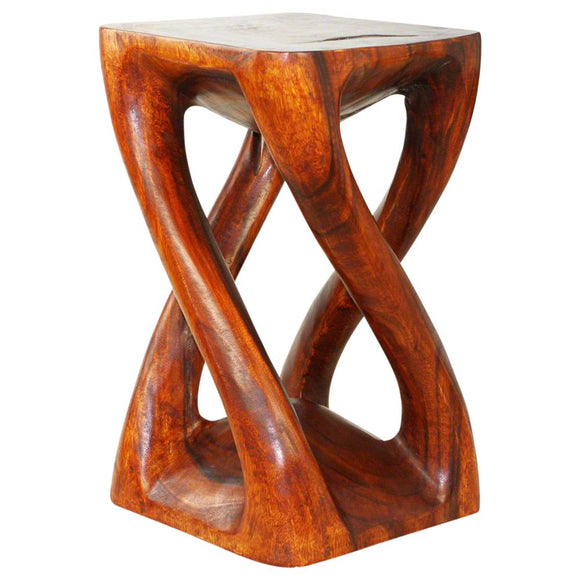 Haussmann® Wood Vine Twist Stool Accent Table 14 in x 23 in H Cherry Oil
