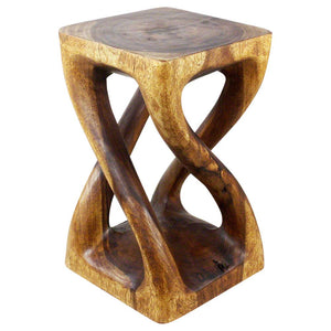 Haussmann® Wood Vine Twist Stool Accent Table 14 in x 23 in H Walnut Oil