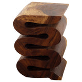 Haussmann® Wood Wave Verve Accent Snake Table 12x14x20 in H Walnut Oil