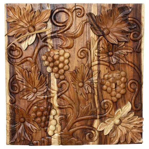 Haussmann Grapes Wall Panel 30 X 30 In Sustainable Wood Eco Friendly Clear Oil
