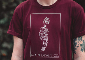 'Skeleton Rose' Burgundy Tee - Brain Drain Co, T-Shirt