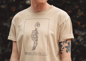 'Skeleton Rose' Tan Tee - Brain Drain Co, T-Shirt