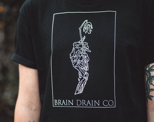 'Skeleton Rose' Black Staple Tee - Brain Drain Co, T-Shirt