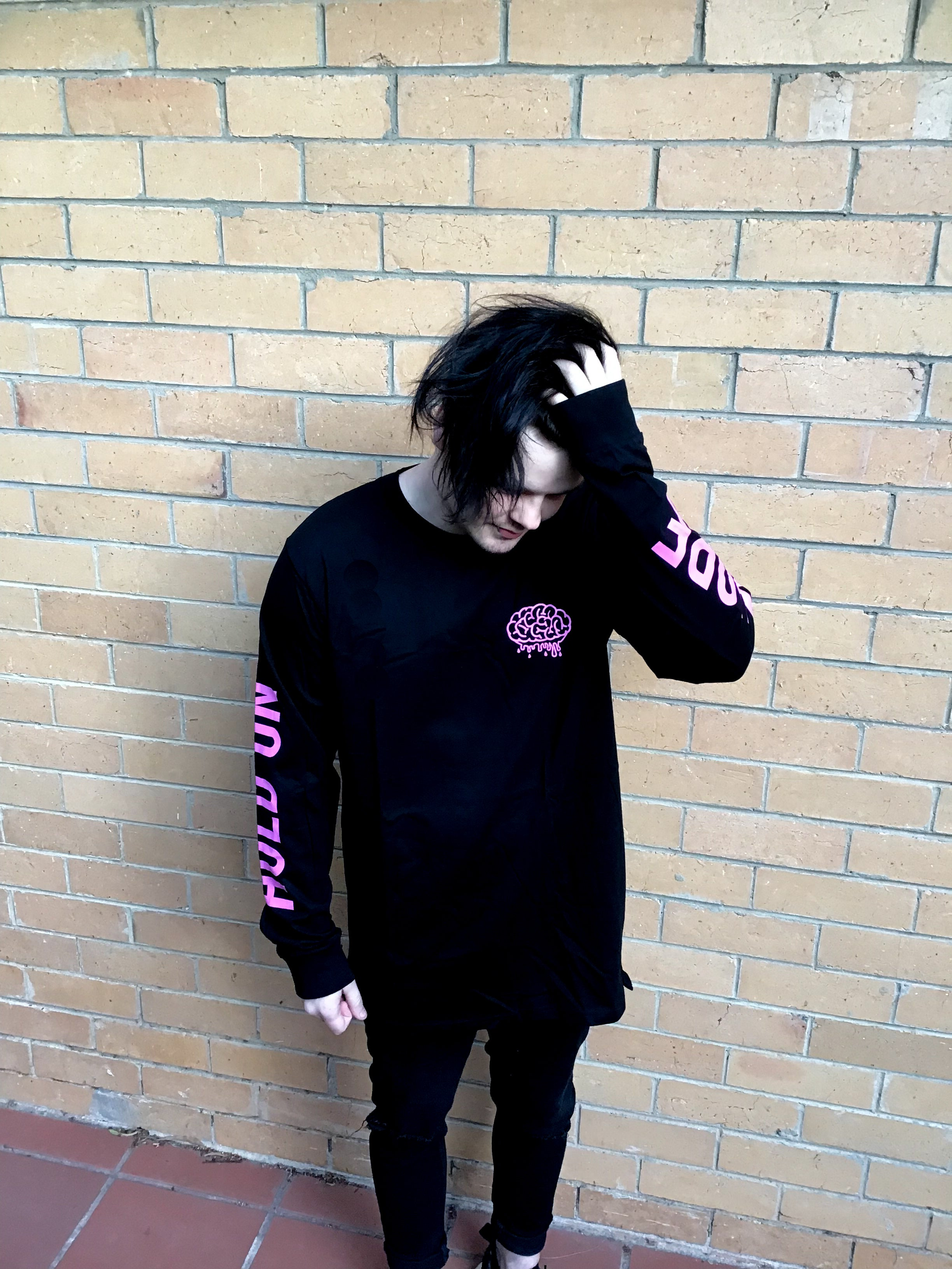 Hold On Long Sleeve (Black/Pink) - Brain Drain Co, Long Sleeves