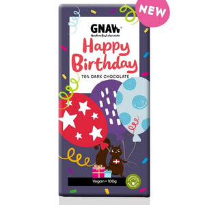 Artisan Happy Birthday Dark Chocolate Bar 70% by Gnaw, 100g