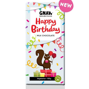 Artisan Happy Birthday Milk Chocolate Bar by Gnaw, 100g