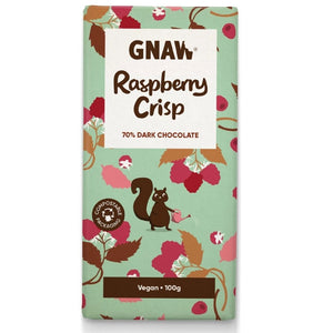 Artisan Raspberry Crisp Dark Chocolate Bar Vegan by Gnaw, 100g