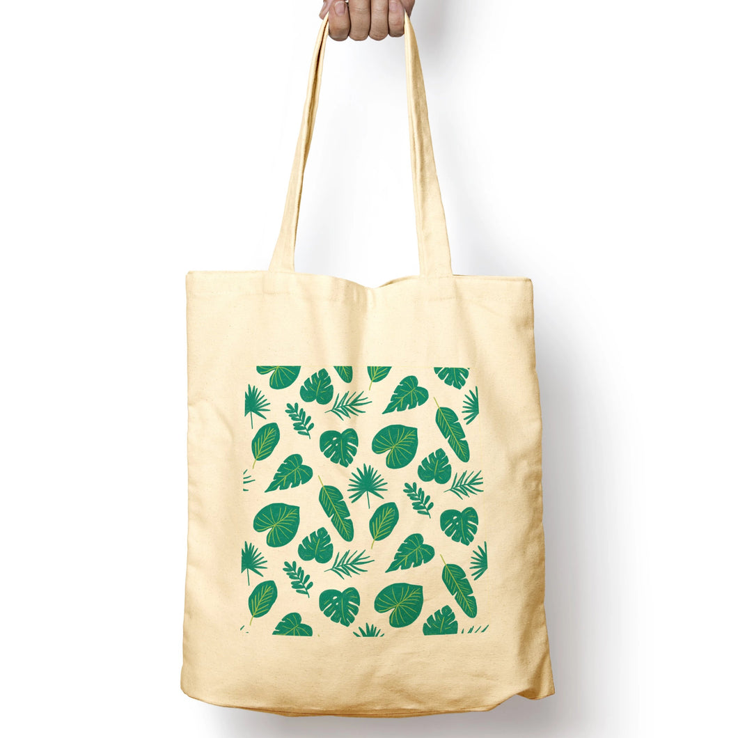 Tropical Leaves Organic Cotton Tote Bag