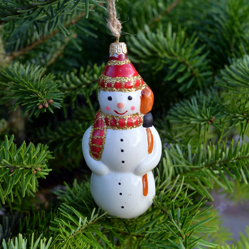 Merry Snowman Glass Bauble