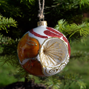 Glass Bauble 'Clock' and Ribbons