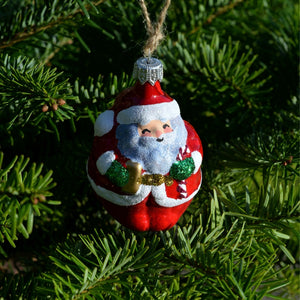 Hand-painted Santa Glass Bauble