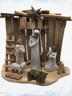 Our Exclusive Driftwood Stable with the Willow Tree® Nativity