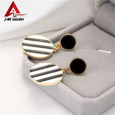 New fashion personality Double round Earrings black and White striped jewelry Simple temperament metal  earrings punk women 2019