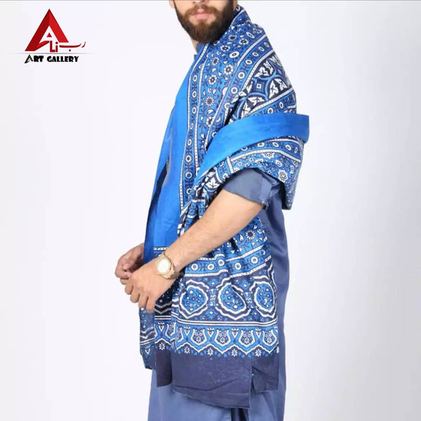 Sindhi Ajrak Sky Blue Color Ajrak For Men