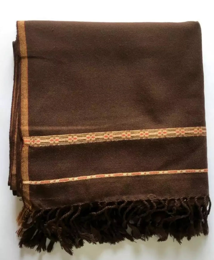 Dark brown pure Woolen Dhussa Shawl