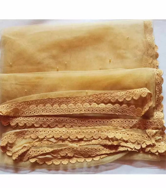 2 piece of Skin Colored Net Dupatta with Four side Lace.