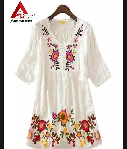 White Cotton Kurti Top for Women