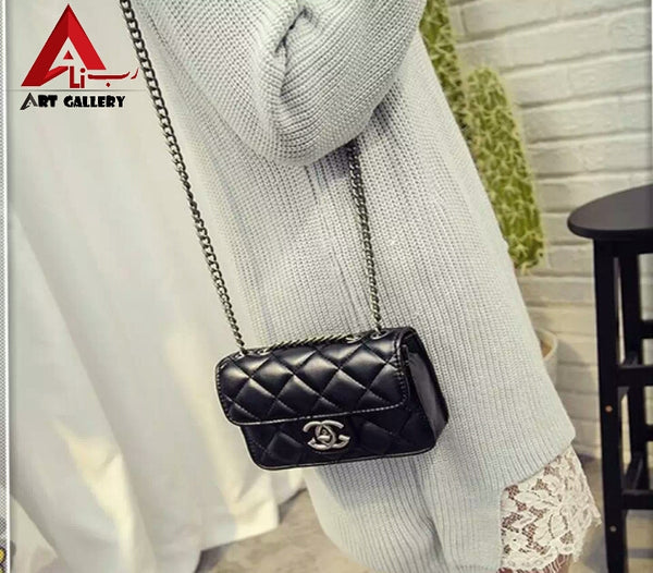 Black Cross Body Shoulder Lingge Bag