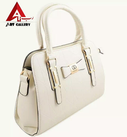 White Leather Hand Bag For Women