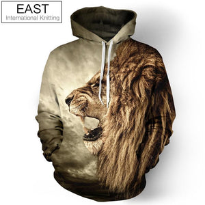 New Fashion Galaxy Hoodie Sweatshirt For Men 3D Lion Print Cartoon Hooded