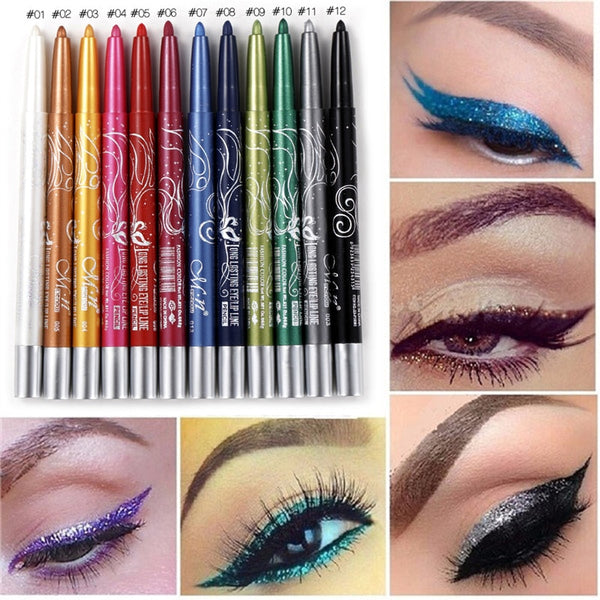 Professional Makeup Eye Shadow Waterproof Glitter & Eyeliner Pencils 12pcs/lots